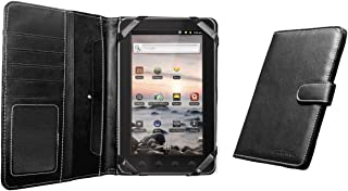 Navitech Genuine Black Napa Leather Flip Open 7 Inch Book Style Carry Case / Cover Compatible With The Coby Kyros MID 7010, 7010C, 7013, 7018, 7001, 7012, 7016, 7022, 7120, 7125, 7127, 7024, 7026, 7027, 7037TM