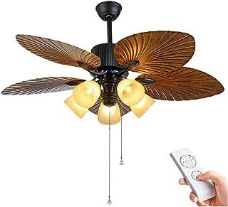 HKLY Ventilador de techo con Luz y Mando a Distancia, 5 Palas,Reversible Ventilador 132 cm de Diámetro,3 Velocidades Ajustable E27 Vidrio Plafón para Salón Dormitorio Comedor Función Invierno