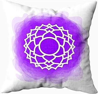 Ducan Lincoln Pillow Case 2PC 18X18,Fundas De Almohada,Icono The Chakra Purple Smoky Circle Line Symbol Sign Meditation Séptima Corona,Fundas De Almohada De Sofá,Fundas De Almohada,Rosa Verde