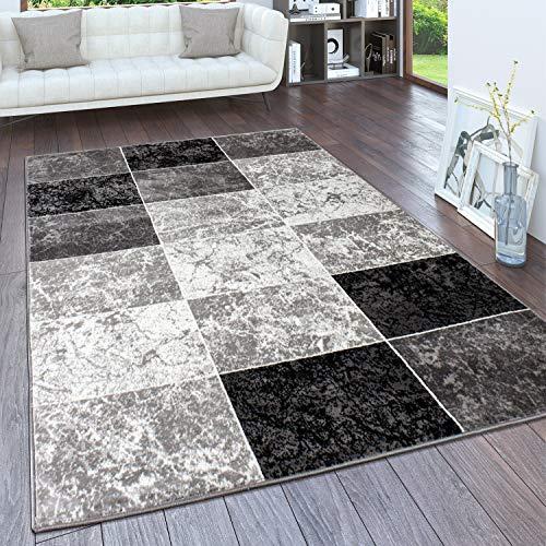 Paco Home Teppich Wohnzimmer, Flur Läufer in versch. Designs, Farben u. Größen, Kurzflor, Grösse:80x150 cm, Farbe:Grau 4