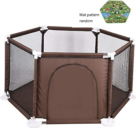 XHJYWL Playpen 6-Panel Baby with Balls  amp  Crawling Mat  Extra Tall Security Fence for Infants Toddler  color BROWN