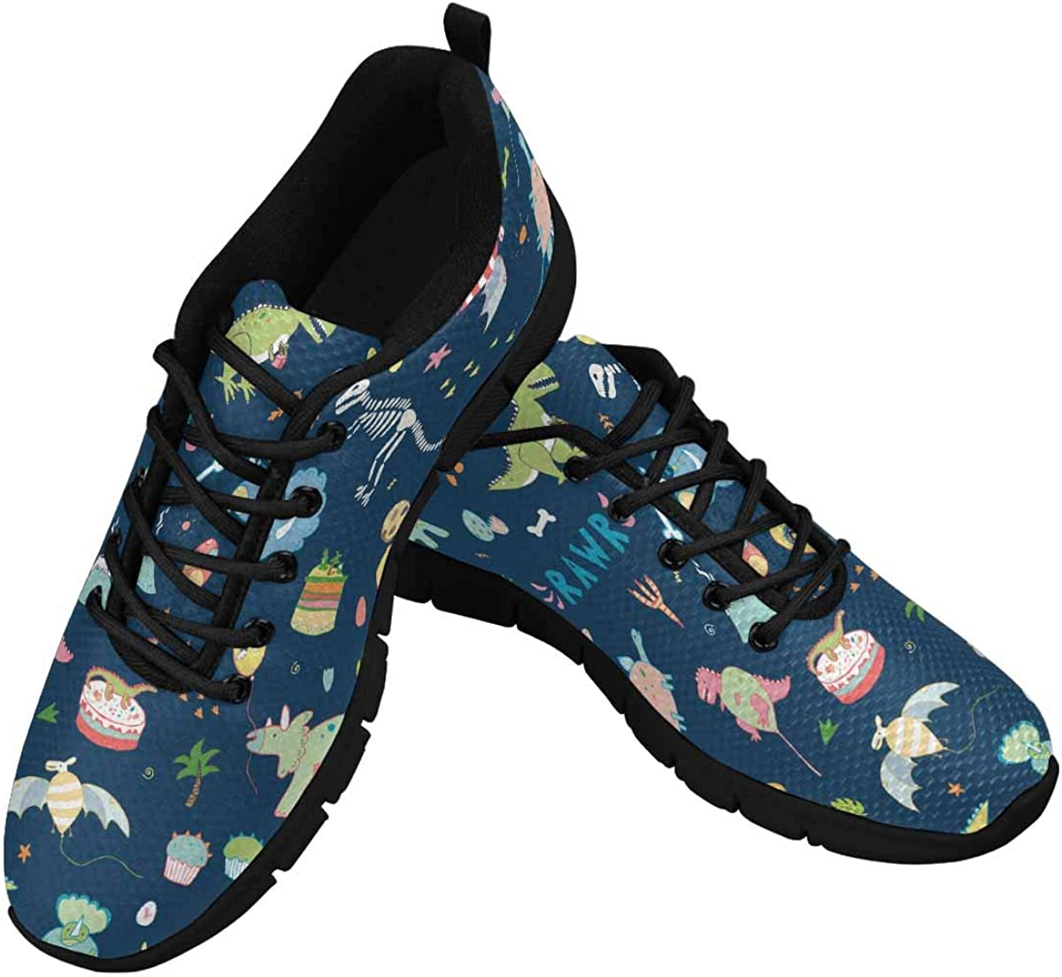InterestPrint Dinosaur Party Women's Lightweight Sneakers Mesh Breathable Yoga Shoes