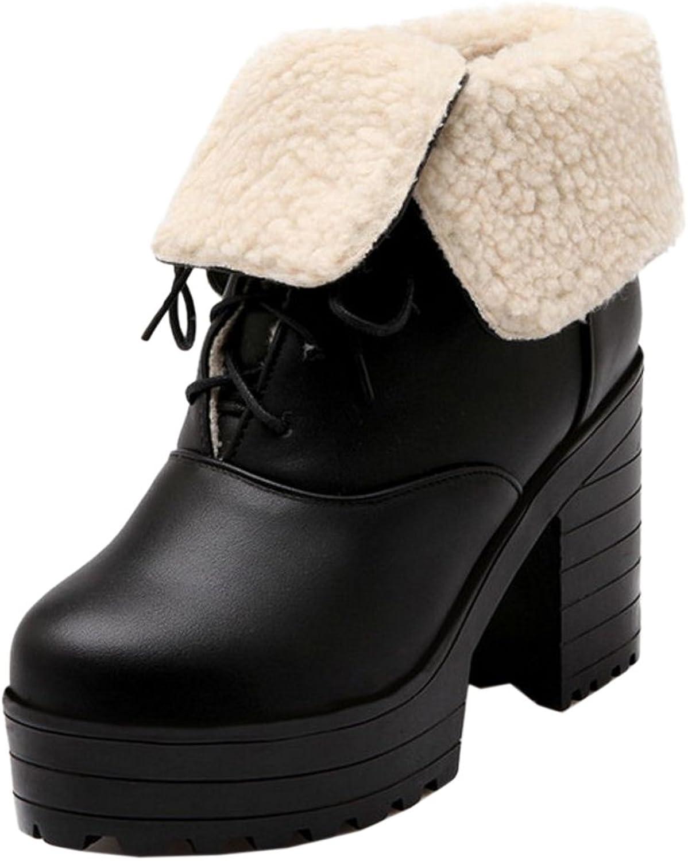 RizaBina Women Warm Lined Boots Lace Up