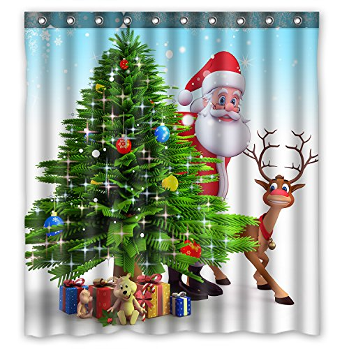 KXMDXA Christmas Tree Reindeer Custom Waterproof Shower...