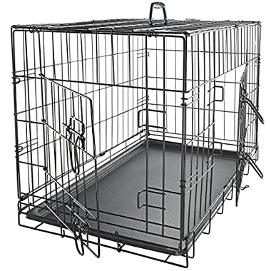 Paws & Pals 48  XXL Dog Crate Double-Door Folding Metal - Wire Cage w/Divider & Tray for Training Pets - 48  x 29  x 32