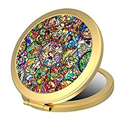 small Dolopow Makeup Mirror Double-sided Round Compact Mirror Disney All Characters Small Pocket Size …