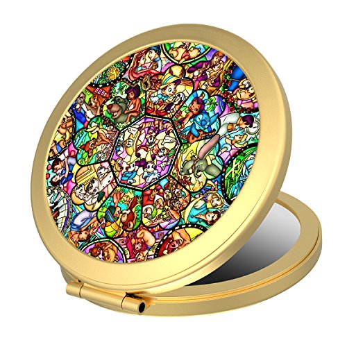 Dolopow Makeup Mirror Double Sided Round Compact Mirror Disney All Characters Small Pocket Size for Purses and Travel, Elegant Handheld Makeup Mirror - Disney All Star