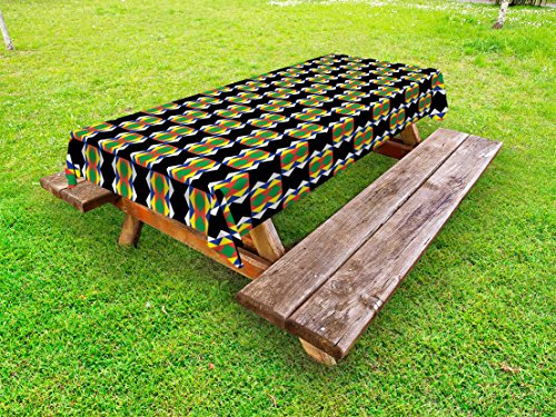 Ambesonne Kente Pattern Outdoor Tablecloth, Traditional Style Design with Triangular Details Funky Pattern Print, Decorative Washable Picnic Table Cloth, 58