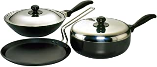 Futura Nonstick Cookware Set 3, QS4 (Contains 3 Products and 2 SS Lids)