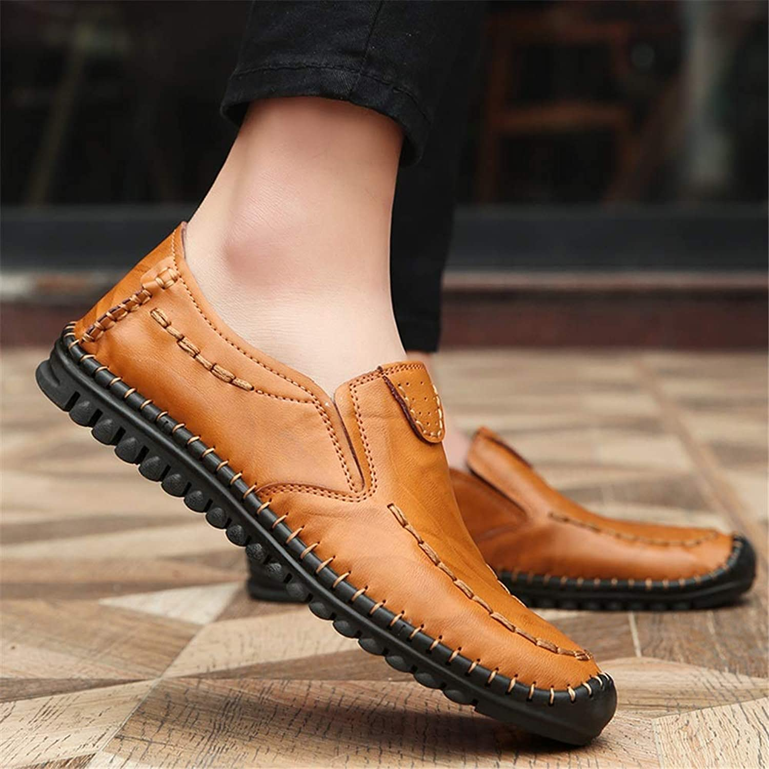 Ino Drive Loafer for Men Boat Moccasins Slip On Style OX Leather Anti-Collision Toe Handtailor Retro