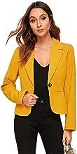 Milumia Women's Open Front Single Button Long Sleeve Work Blazer Jacket Shirt