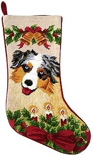 Australian Shepherd Christmas Stocking 100% Needlepoint Hand Stitched Wool