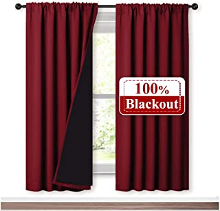 NICETOWN Living Room Completely Shaded Draperies, Privacy Protection & Noise Reducing Drapes, Black Lined Insulated Window Treatment Curtain Panels(Burgundy Red, 2 Pieces, W52 x L72)