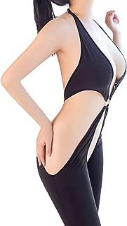 Damen Bodystocking Schritt, Frauen Unterwäsche Schwarz Bodysuits Öffnen Schritt Mesh Overall Sesy Rückenfrei Spielelüge Mode Nachtwäsche Beiläufig Pyjama