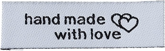 50 Count Handmade Sewing Labels with Interlocking Hearts in White 50mm x 15mm