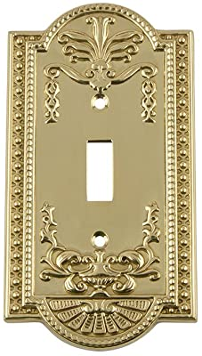 Nostalgic Warehouse 719926 Meadows Switch Plate With Single Toggle Polished Brass