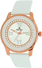 Oskar Emil Women Goldtone Stone Silver Dial White Genuine Leather Strap Watch