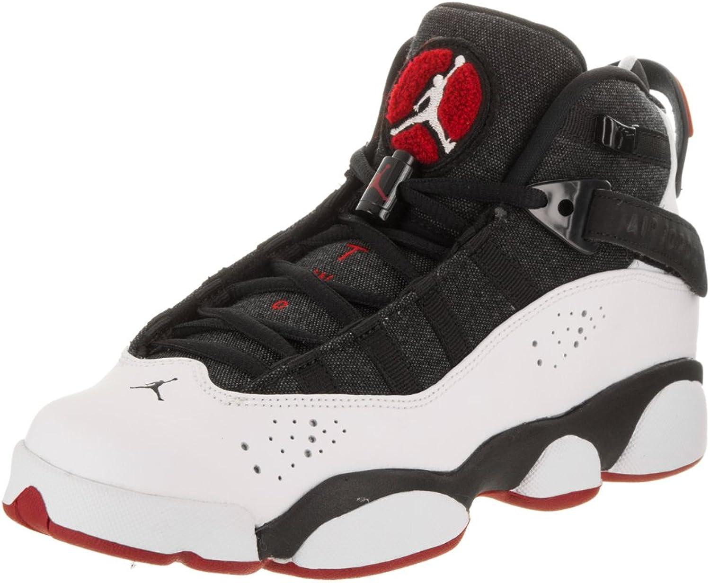 Nike Jordan Kids Jordan 6 Rings BG Black White Gym Red Black Basketball shoes 4.5 Kids US