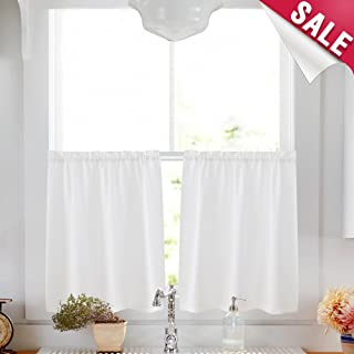 Tier Curtains 24 inch Rod Pocket for Kitchen Casual Weave Textured Cafe Curtain Semi Sheer Short Curtain for Bathroom Half Window,Thick, 2 Panels, W68xL24|Set,White