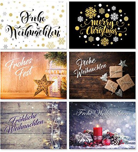 24 Weihnachts-Postkarten (6 Motive, jeweils 4 Postkarten), Weihnachtskarten, Weihnachtspostkarten