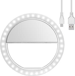 Anillo de luz Selfie[Nueva Versión] Diyife 36 LED USB Recargable Selfie Light Clip en el Cualquier Teléfono con Brillo de 3 Niveles Fotografiar Transmisión en Vivo Maquillaje