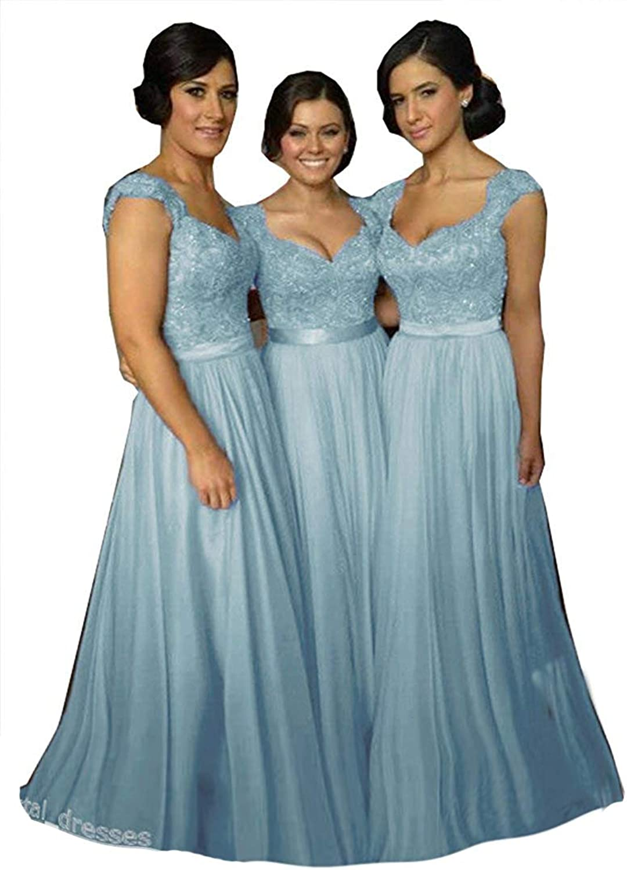 Fanciest Women' Cap Sleeve Lace Bridesmaid Dresses Long Wedding Party Gowns Light bluee US18W