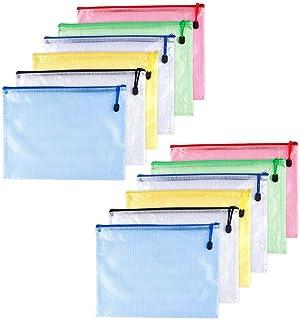 DaoRier 16pcs Chemise Paquet Portefeuille Pochette en PVC Zip A6 Document Dossier Porte-Document Plastique fichiers Sacs pour Fournitures Bureaux Voyage