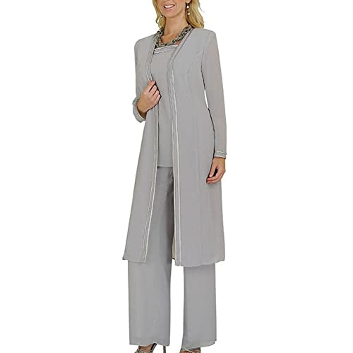 a5b9651957c83 Fitty Lell Women s Chiffon Pant Suits Plus Size 3 Pieces with Long Sleeves  Jacket Mother of