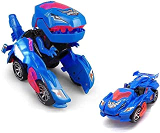 HENGBANG Transforming Toys, Dinosaur Cars Combined Into One,Automatic Transformation, Transformation of Dinosaur LED Cars, Lamps (Blue)