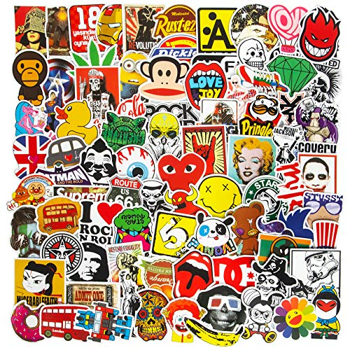 Fashion Brand Cool Stickers for Water Bottles, 100PCS Vinyl Waterproof Laptop Stickers for Skateboard Guitar Motorcycle Bicycle Luggage Car Computer Stickers Pack Gifts Decal Graffiti Patches
