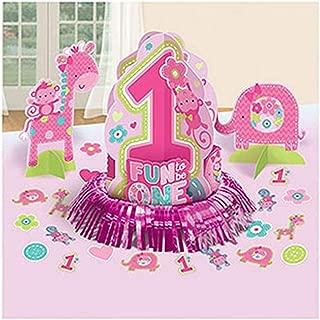 amscan One Wild Girl 1st Birthday Table Decorating Kit, Medium, Pink