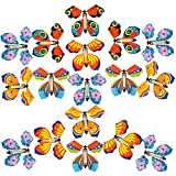 SUSSURRO 25 Pieces Flying Butterfly Toy Wind up Butterfly Toy Rubber Band PoweredButterfly for Great Surprise Wedding Birthday Gift,5 Style