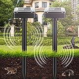 2 pezzi repellente solare per talpe, repellente solare ultrasuoni, scaccia talpe solare, protezione ip56, solare repellente per giardino roditori, serpenti, formiche, giardino, prato, cortile (nero)