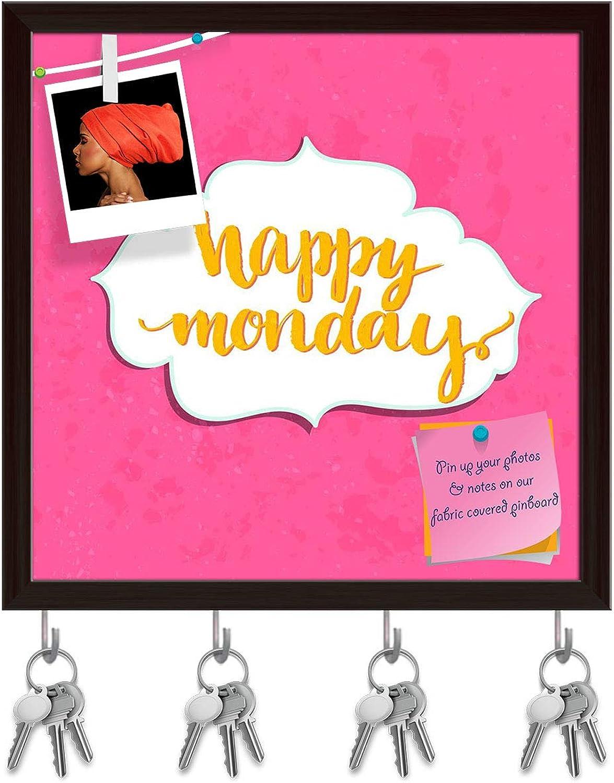 Artzfolio Happy Monday Key Holder Hooks   Notice Pin Board   Dark Brown Frame 20 X 20Inch