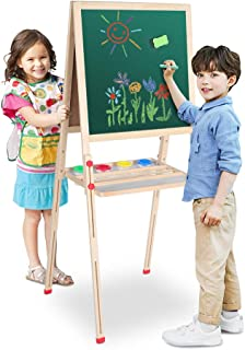 Ejoyous All in 1 Kids Easel with Magnetic Chalkboard & White Board, Height Adjustable Children Easel, Portable Paint Drawing Math Study Art Easel for Kids, Tollder with 6