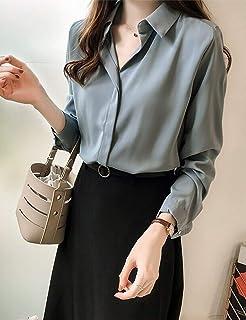 Goralon 秋装女2018新款韩版气质纯色衬衫女长袖上衣简约OL雪纺衬衣打底衫