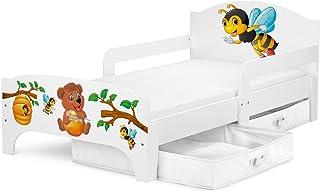 Leomark Smart Cama Infantil de Madera - Oso Y Abejas - Marco de Cama, Colchón y Cajón, robustro Cómodo Dormitorio Impresa, Muebles para Niños, Espacio para Dormir: 140/70