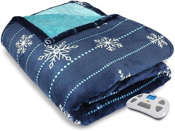 Serta Silky Plush BlueTooth Electric Heated Warming Blanket Queen Navy Blue