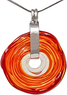 Collar en tono rojo con colgante de cristal de murano | Joya intercambiable | Pieza único hecho a mano | Regalo para Aniversario y Boda | Regalo de cumpleaños | Regalo personalizado para navidad.