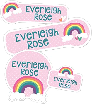 Summer Camp labels Name Labels Stickers Personalized Kids Medium Name Stickers Daycare Rainbow Name Labels Waterproof School Name
