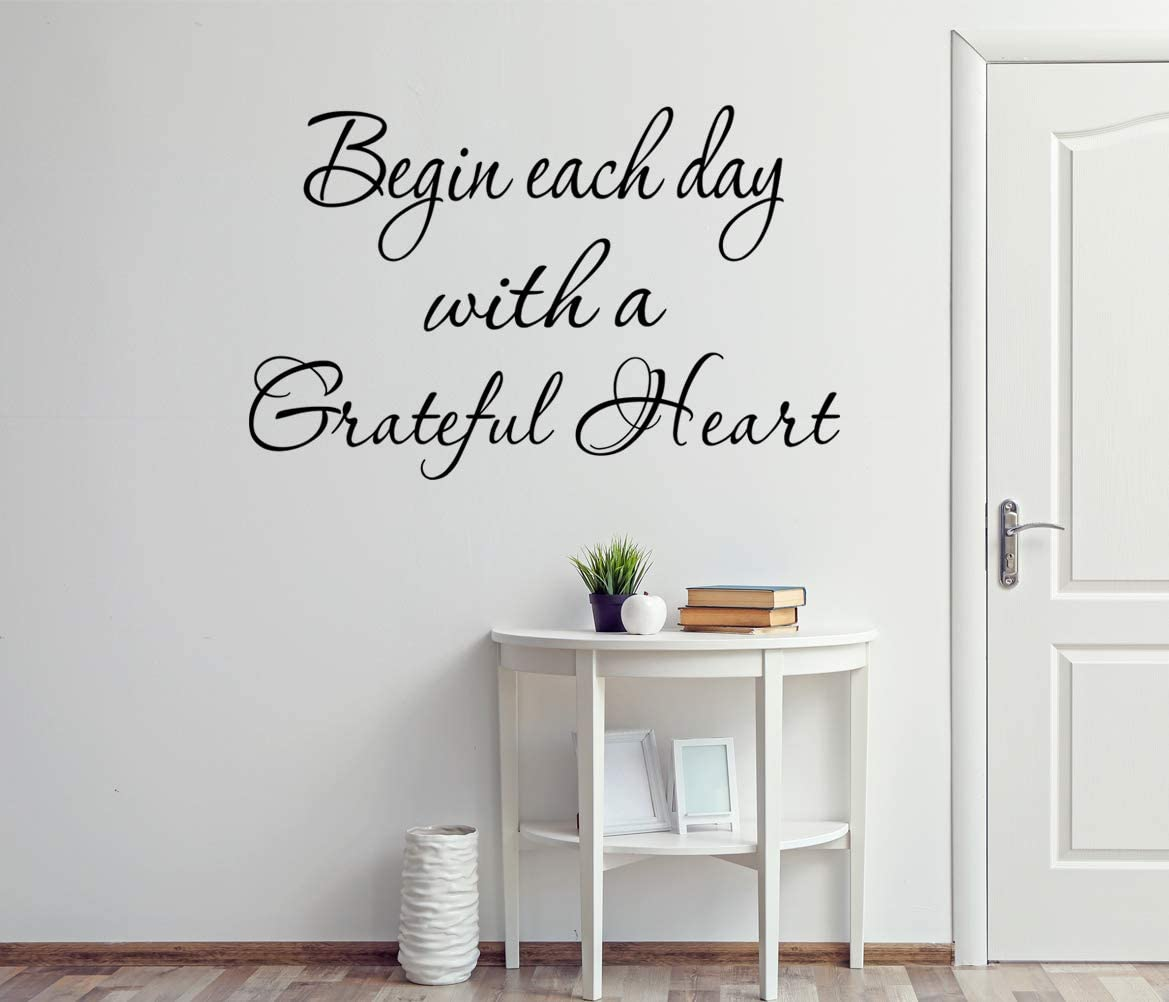 Amazon Com Vwaq Begin Each Day With A Grateful Heart Vinyl Wall Decals Quotes Grateful Wall Decor Brown 15 H X 21 W Home Kitchen