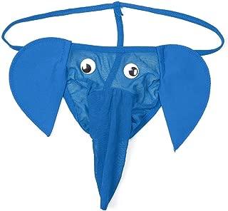 Men Sexy Lingerie Elephant Underpants Underwear Pants Male T-Back Jockstrap Thongs Bulge Pouch Underwear Panty Clothes - Blue