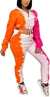 Womens Jogger Outfit Matching Set Tie Dye Long Sleeve Pullover Top Sweatpants Sweatsuits Workout Sets Loungewear