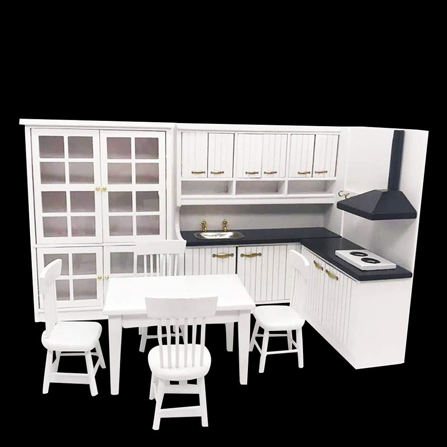Hirolan Doll Accesories,Miniature Kitchen 1 12 Mini Dollhouse Mini Kitchen Dining Table and Chair Cabine