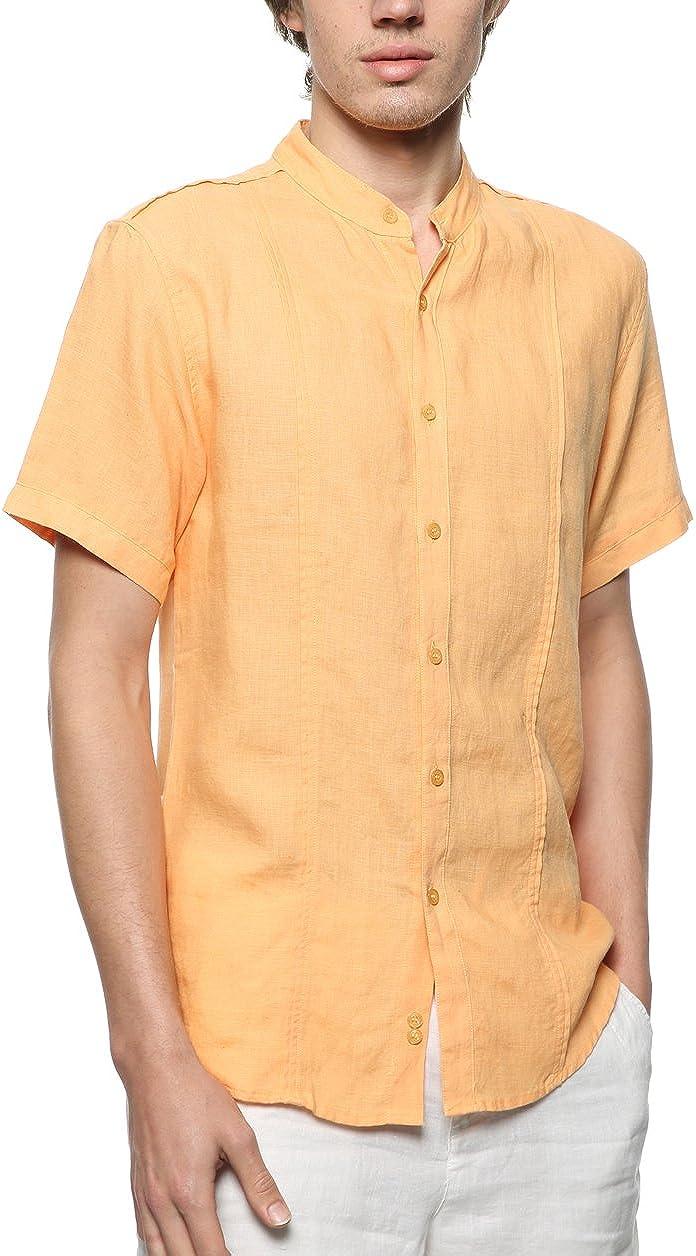 BYLUNTA Men's 100% Linen Summer Short Sleeve Beach Casual Shirt Regular Fit