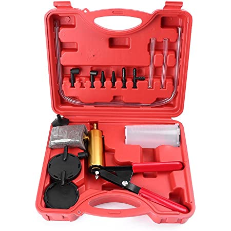 N A 17pcs Hand Held Brake Clutch Bleeding Tester Set Vacuum Pump Test Tuner Tool Kit Case Universal Automotive Tools with Adapters for Motorcycle Car Truck Vehicle