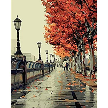 "iCoostor Paint By Numbers DIY Painting Kit For Kids & Adults By 16"" x 20"" Romantic Autumn Pattern With 3 Brushes & Bright Colors"