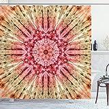ABAKUHAUS Stoff Duschvorhang, Batik Hippie Rotbraun, mit 12 Ringe Set Wasserdicht Stielvoll Modern Farbfest & Schimmel Resistent, 175x180 cm, Braun Rot