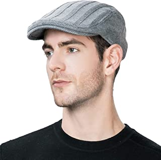 Mens Wool Blend Knit Newsboy Cap Fitted Winter Irish Ivy Cabbie Golf Flat Hat 57-61CM