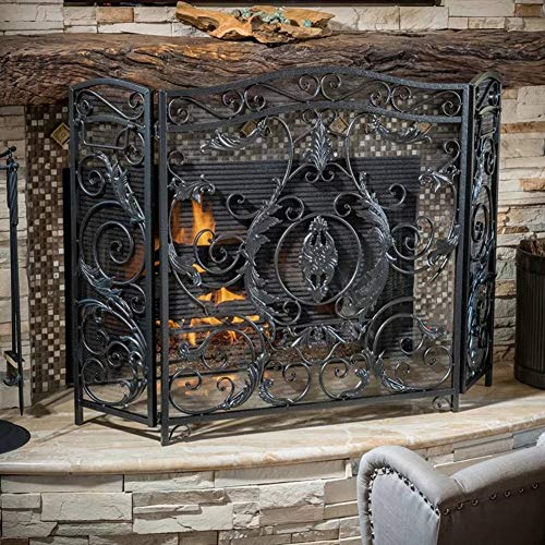 Lowest Price! LXLA 3-Panel Mesh Fireplace Safety Screen with Decorative Scroll Design, Black Large F...